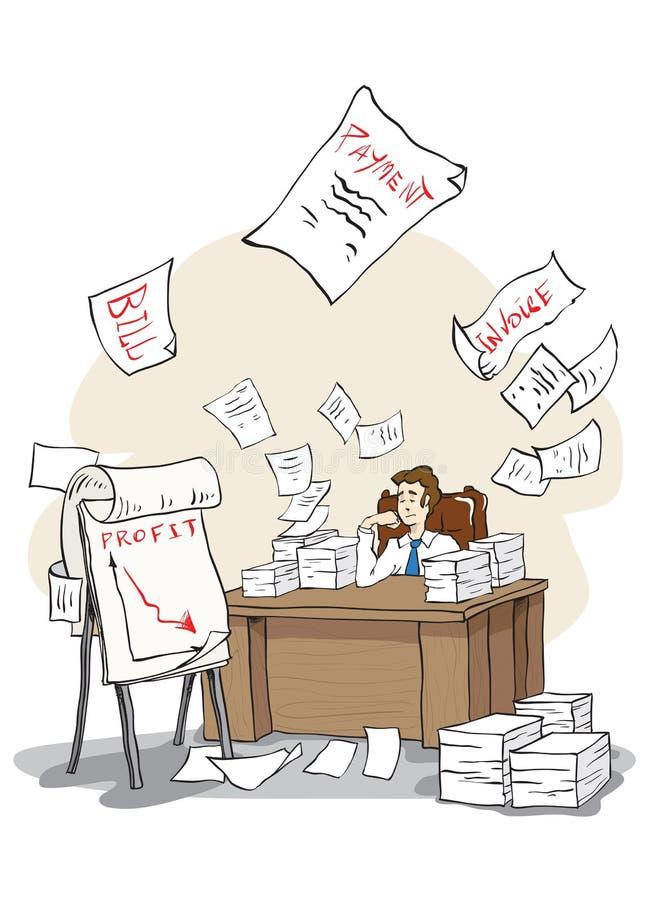 El hombre de negocios aburrido ve la bancarrota libre illustration