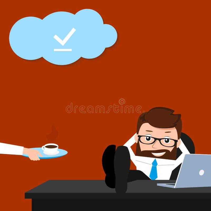 El hombre de negocios afortunado es relajante en el lugar de trabajo ilustración del vector