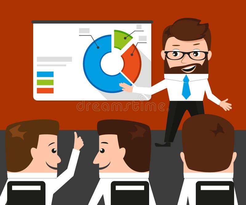 El hombre de negocios afortunado está presentando un diagrama redondo stock de ilustración