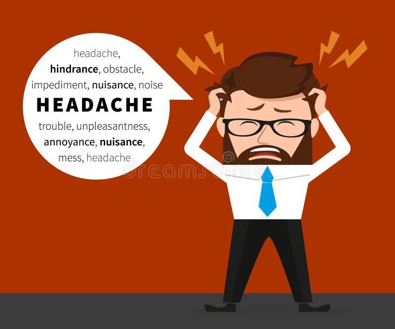 El hombre de negocios afortunado tiene un dolor de cabeza libre illustration
