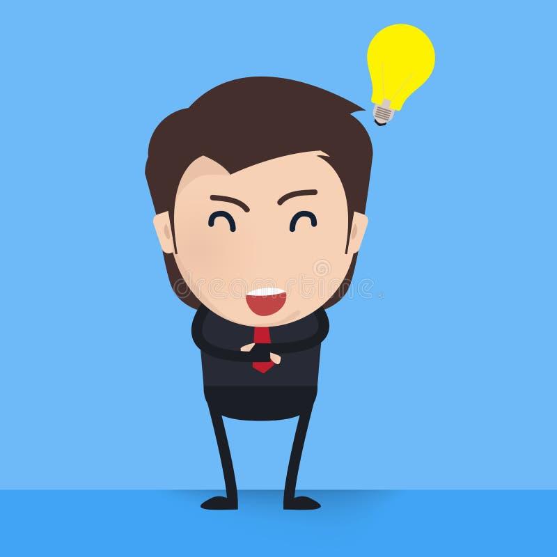 El hombre de negocios afortunado tiene una idea libre illustration
