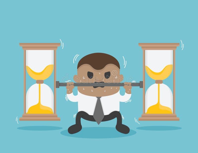 El hombre de negocios africano aumenta una barra con un reloj de arena ilustración del vector