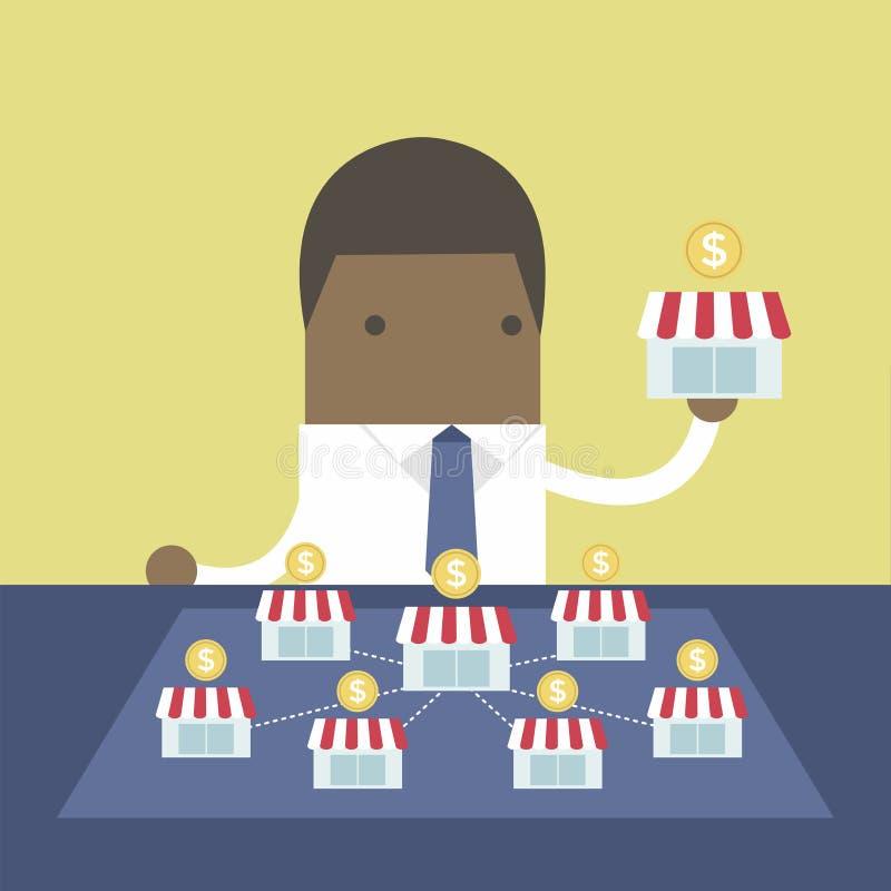 El hombre de negocios africano quiere ampliar su negocio libre illustration