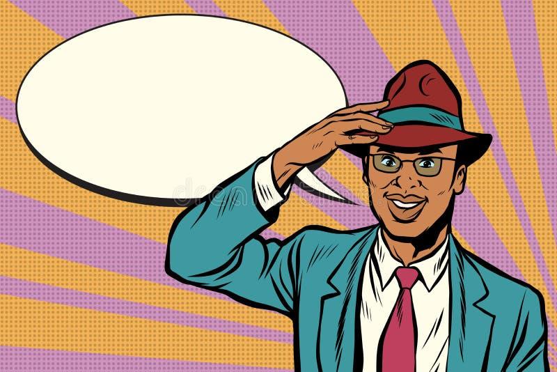 El hombre de negocios africano retro saca su sombrero ilustración del vector