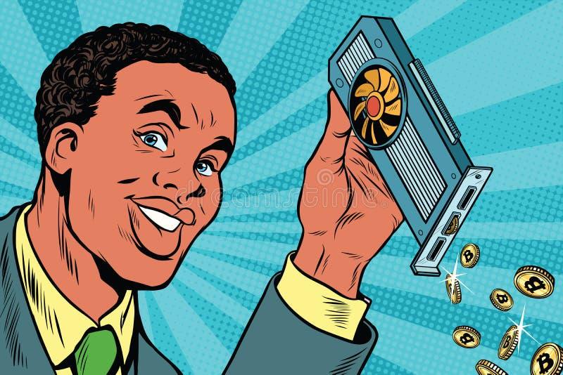 El hombre de negocios afroamericano está minando bitcoins con un coche video stock de ilustración