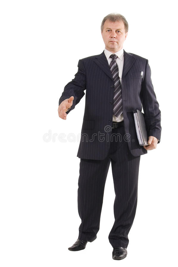 El hombre de negocios alcanza hacia fuera la mano fotos de archivo libres de regalías
