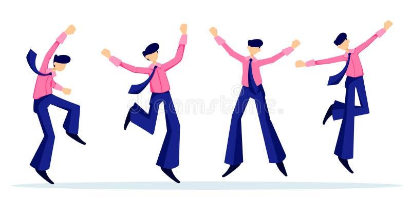 El hombre de negocios alegre disfruta en la meta alcanzada ilustración del vector