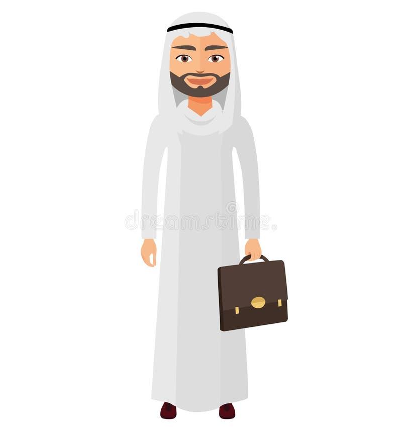 El hombre de negocios de Arabia Saudita con los documentos vector el illust plano de la historieta ilustración del vector