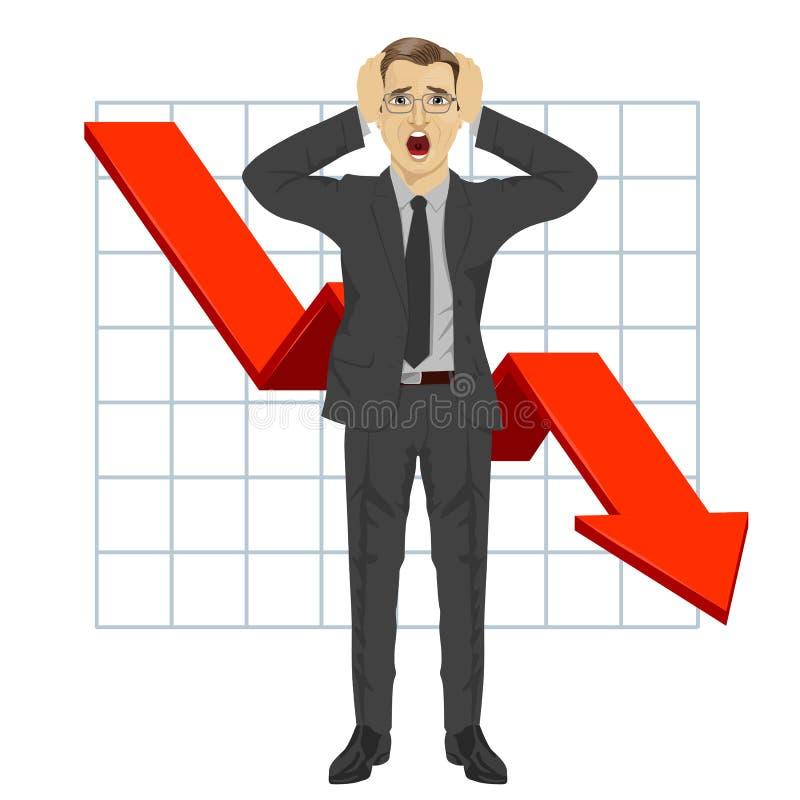 El hombre de negocios asió su cabeza Flecha roja Financiero abajo represente gráficamente Tendencia descendente crisis libre illustration