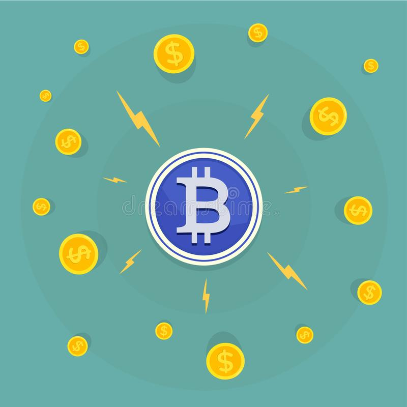 El hombre de negocios atrae Bitcoins con un imán Concepto plano de la bandera del diseño libre illustration