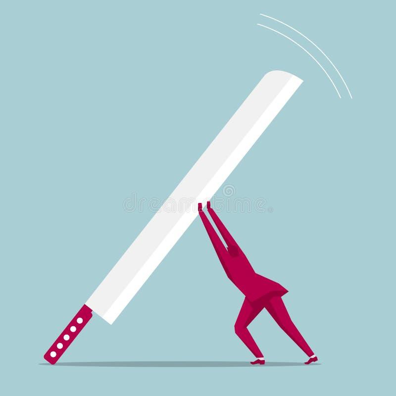 El hombre de negocios aumentó un cuchillo enorme ilustración del vector
