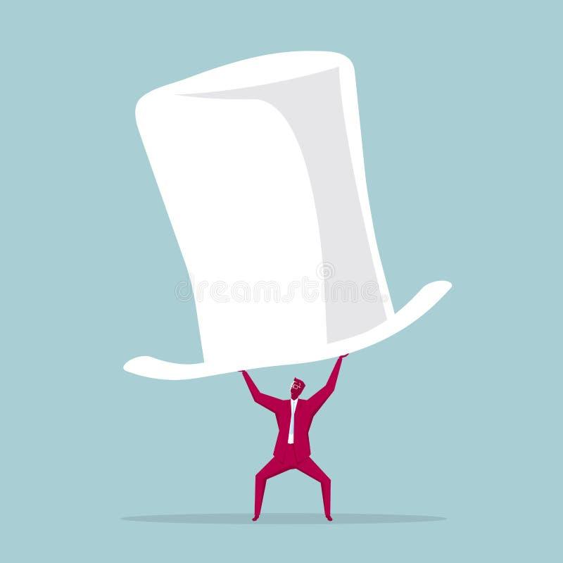 El hombre de negocios aumentó un sombrero de copa enorme ilustración del vector