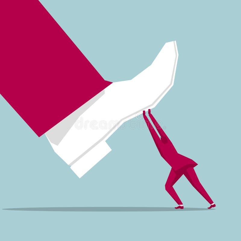 El hombre de negocios aument? un pie enorme stock de ilustración