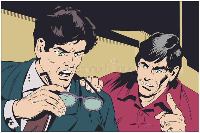 El hombre de negocios ayuda al colega con consejo Ilustraci?n com?n libre illustration