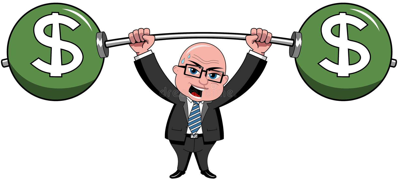 El hombre de negocios Bald Cartoon Lifting carga el dólar stock de ilustración