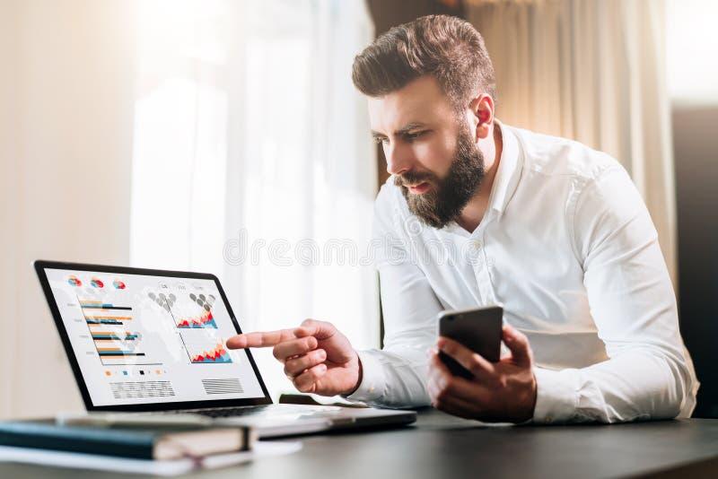 El hombre de negocios barbudo en la camisa blanca se está sentando en la tabla delante del ordenador, mostrando el finger en la p foto de archivo libre de regalías
