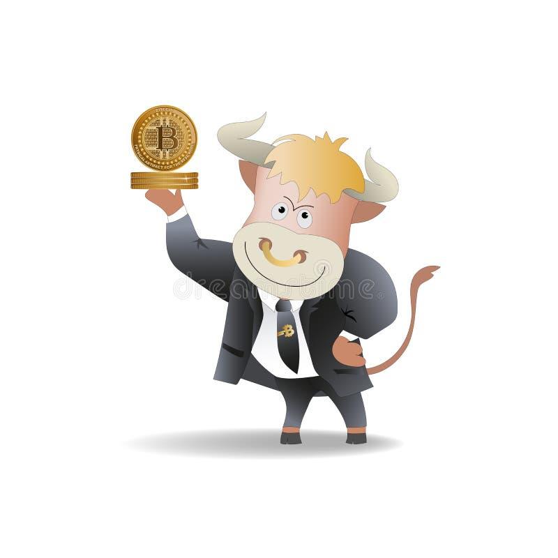 El hombre de negocios de Bull demuestra bitcoins ilustración del vector
