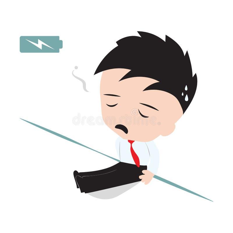 El hombre de negocios cansó y magro contra la pared con el indicador de la batería para mostrar el nivel de energía y para necesi stock de ilustración