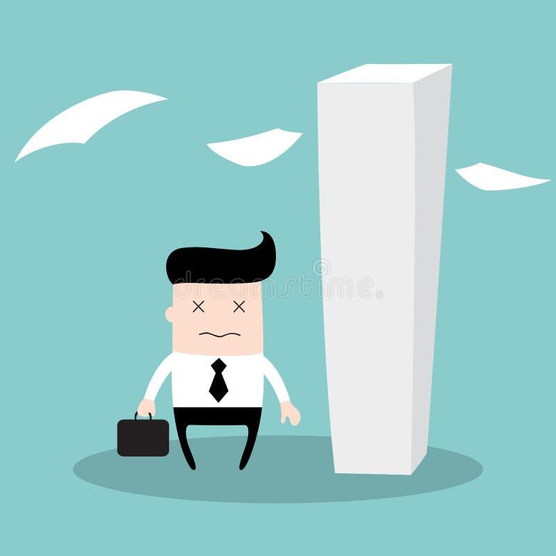 El hombre de negocios cansado que tiene mucho trabajo a hacer, parece un zombi, realmente cansado ilustración del vector