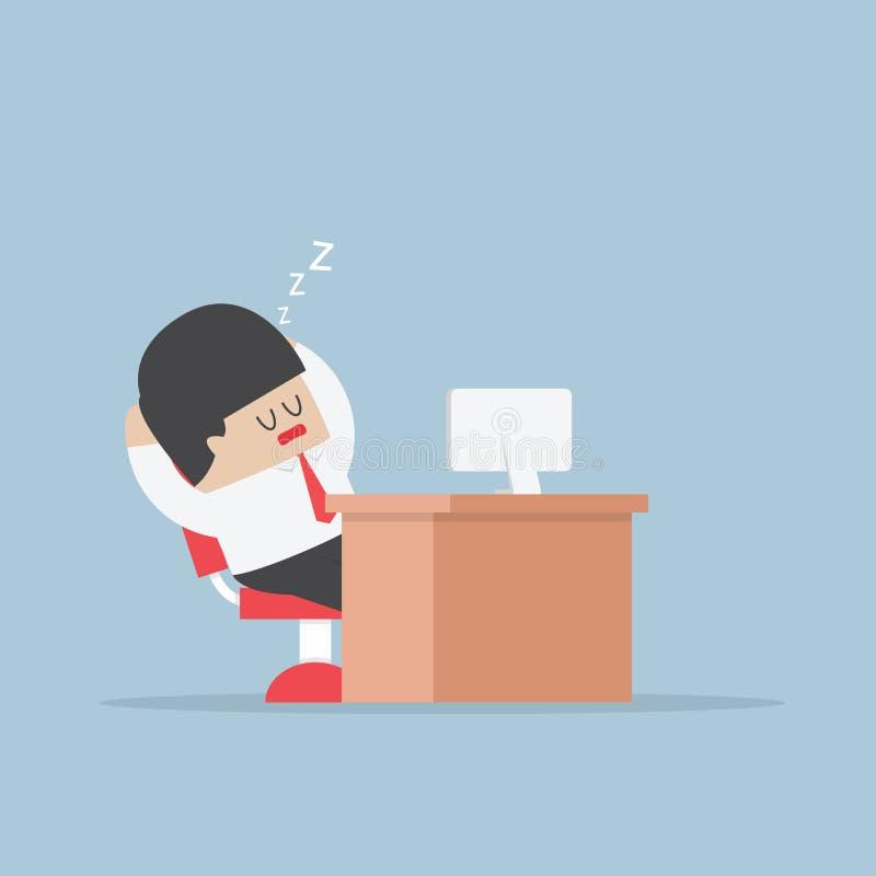 El hombre de negocios cansado se cae dormido en su escritorio libre illustration