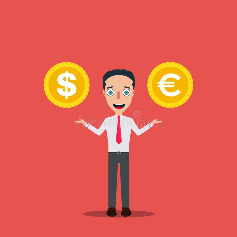 El hombre de negocios Cartoon Character Icon aisló el cambio del dinero del ejemplo del vector de la plantilla del diseño stock de ilustración