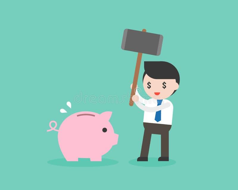 El hombre de negocios codicioso que sostiene el martillo grande destruye la hucha, ahorrando libre illustration