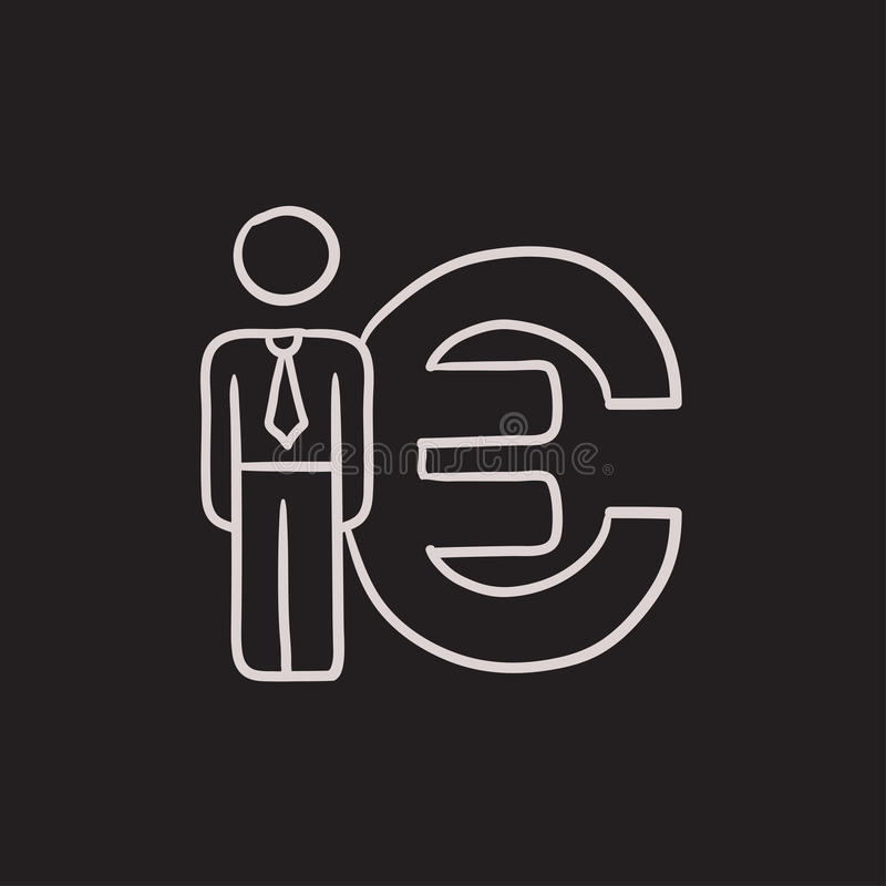 El hombre de negocios coloca el icono euro cercano del bosquejo del símbolo ilustración del vector