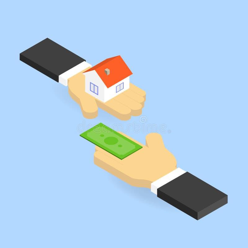 El hombre de negocios compra las propiedades inmobiliarias stock de ilustración