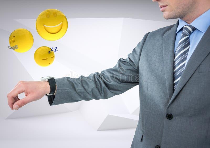 El hombre de negocios con distribuye y los emojis con las llamaradas contra el fondo blanco stock de ilustración