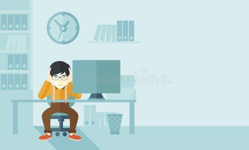 El hombre de negocios con exceso de trabajo está bajo tensión ilustración del vector