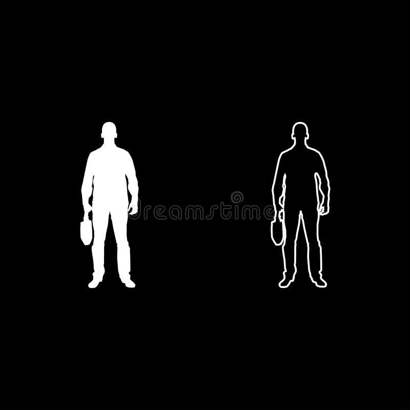 El hombre de negocios con el hombre de la cartera con un bolso del negocio en su icono de la vista delantera del silhouesse de la libre illustration
