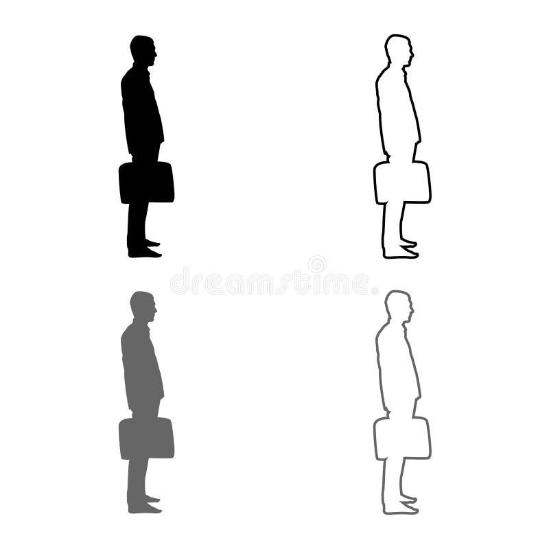 El hombre de negocios con el hombre de la situación de la cartera con un bolso del negocio en su icono del silhouesse de la mano  stock de ilustración