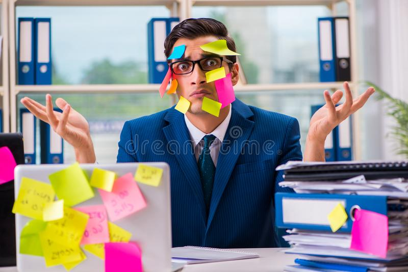 El hombre de negocios con las notas del recordatorio en concepto polivalente imagen de archivo libre de regalías