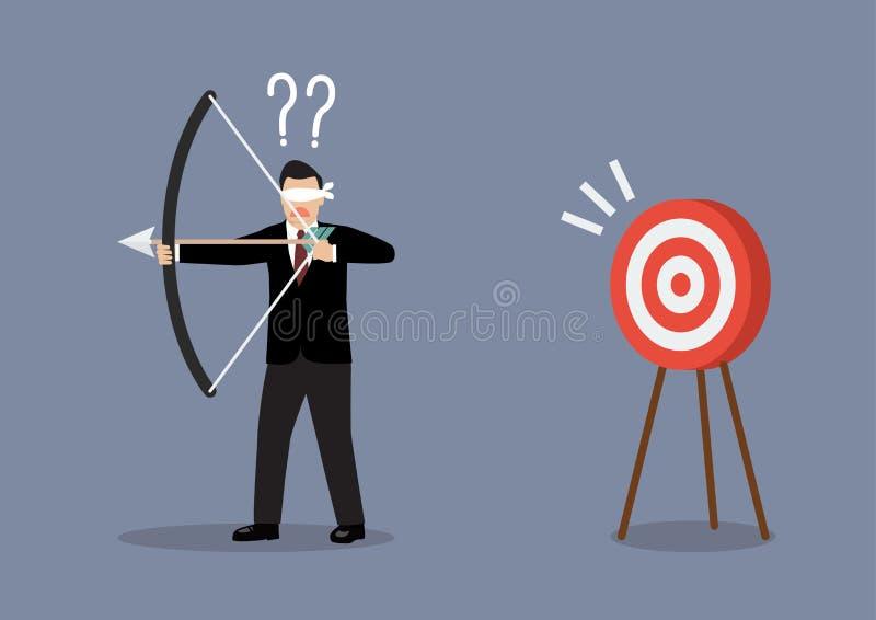 El hombre de negocios con los ojos vendados busca la blanco en la dirección equivocada ilustración del vector