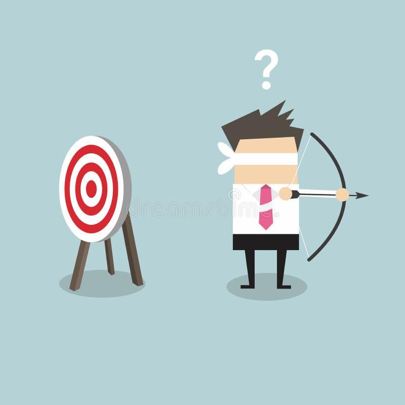 El hombre de negocios con los ojos vendados que sostiene el arco y la flecha busca la blanco en la dirección equivocada libre illustration