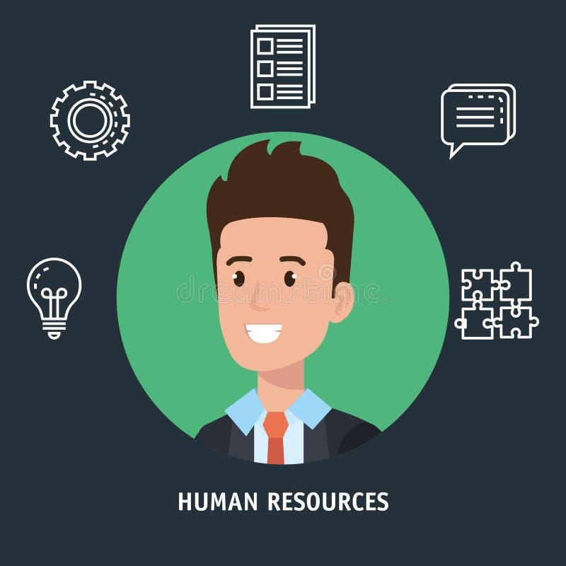 El hombre de negocios con los recursos humanos fijó iconos ilustración del vector
