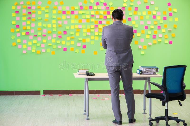 El hombre de negocios con muchas prioridades en conflicto fotografía de archivo