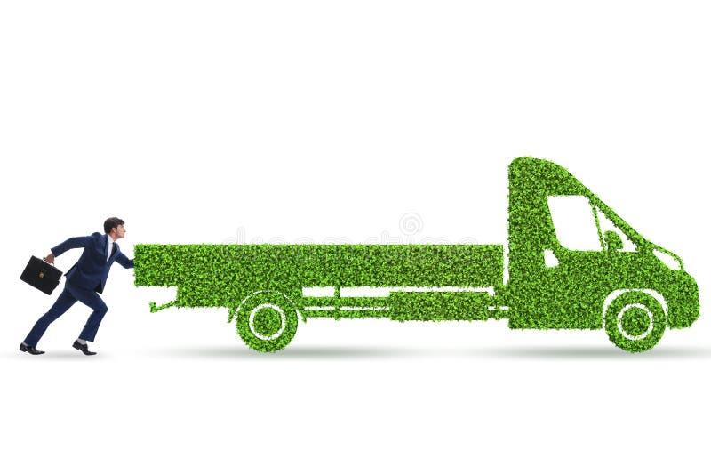 El hombre de negocios con el veh?culo ecol?gico verde stock de ilustración