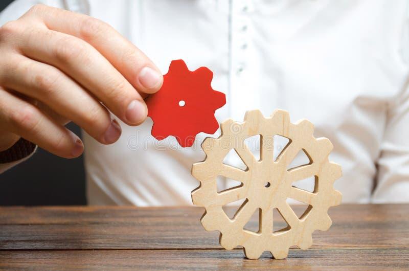 El hombre de negocios conecta un pequeño engranaje rojo con una rueda de engranaje grande Simbolismo de establecer procesos y la  imagen de archivo libre de regalías