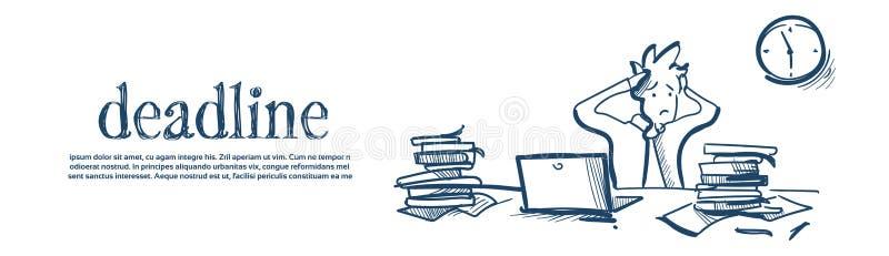 El hombre de negocios confuso que lleva a cabo el plazo cansado principal soluciona bosquejo blanco de proceso de trabajo duro de stock de ilustración