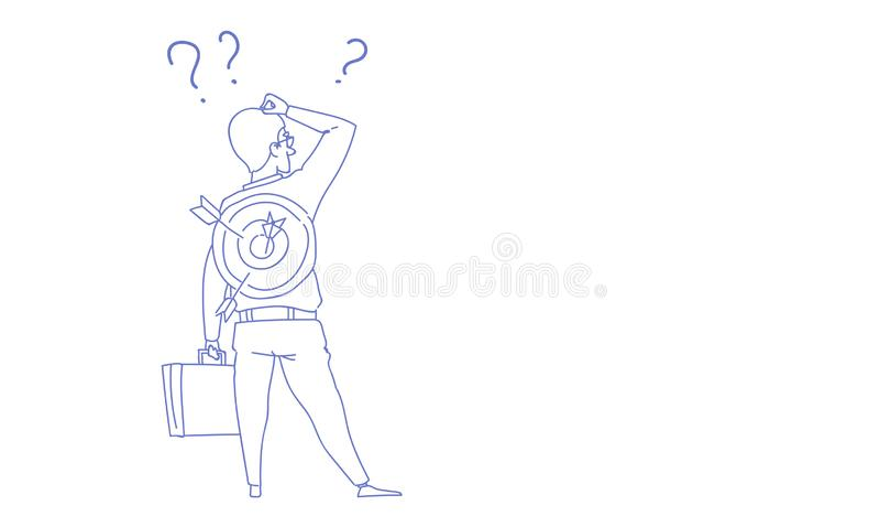 El hombre de negocios confuso que retrocede el signo de interrogación de la cabeza del tacto de la mano piensa la dirección corre stock de ilustración