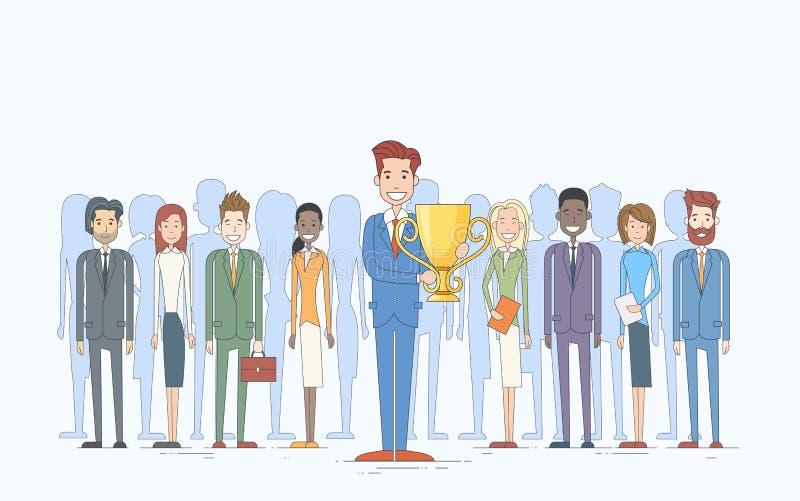 El hombre de negocios consigue a empresarios premiados de la taza el grupo Team Leader Success Concept ilustración del vector