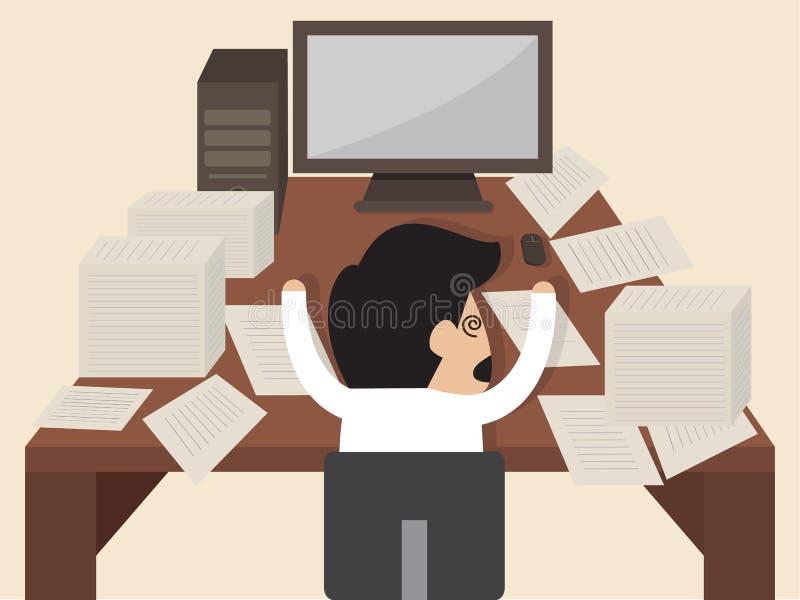 El hombre de negocios consigue golpeado durante el trabajo stock de ilustración