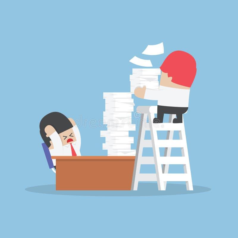 El hombre de negocios consigue mucho trabajo de su jefe libre illustration