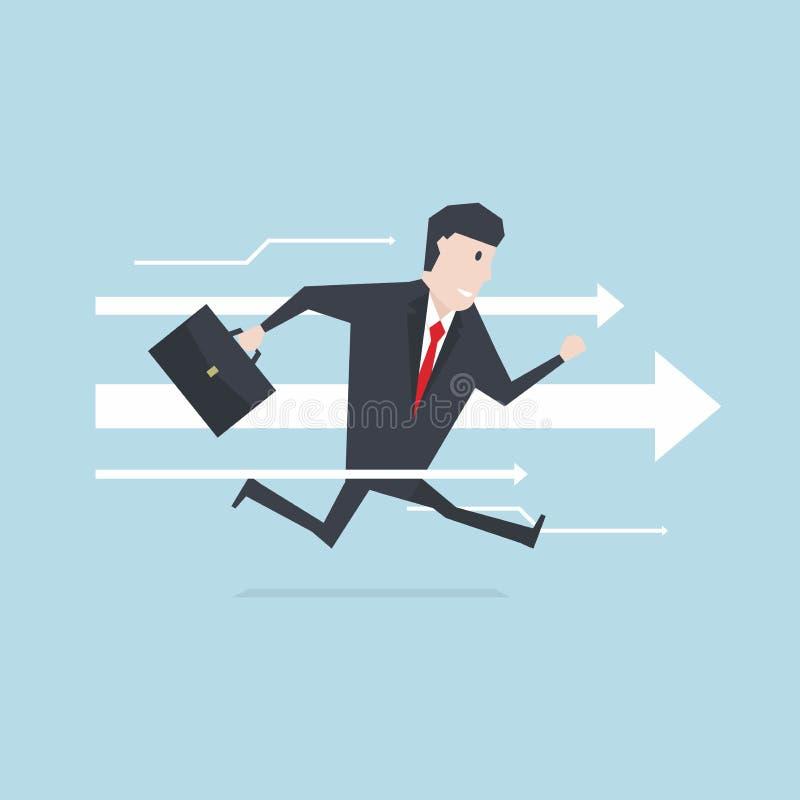 El hombre de negocios corre adelante al éxito con el fondo de la flecha libre illustration