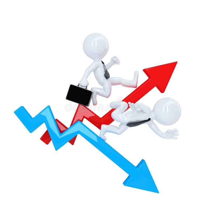 El hombre de negocios corre encima la flecha del gráfico Concepto de la subida y de la caída Aislado Contiene la trayectoria de r libre illustration