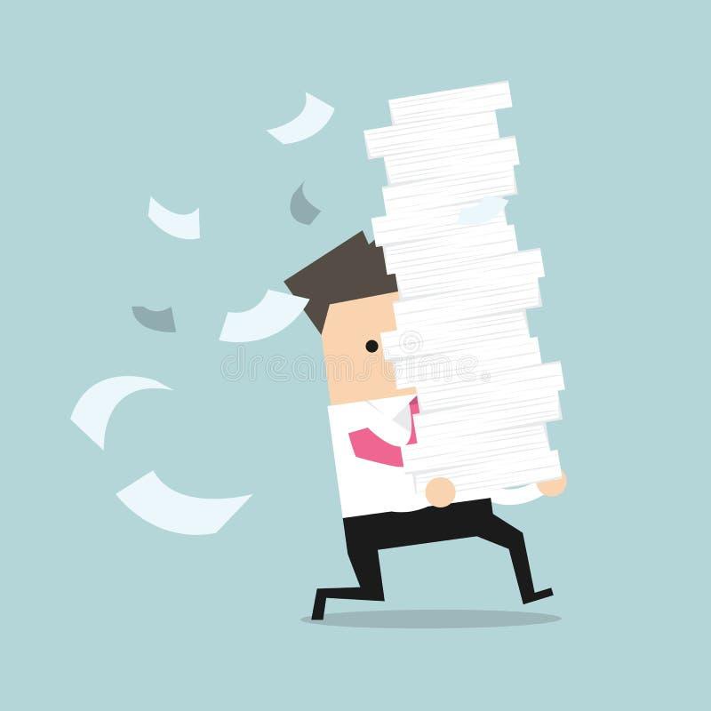 El hombre de negocios corre sostener muchos papeles en sus manos libre illustration