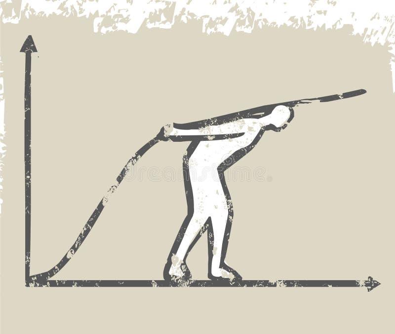 El hombre de negocios crece la línea del gráfico libre illustration