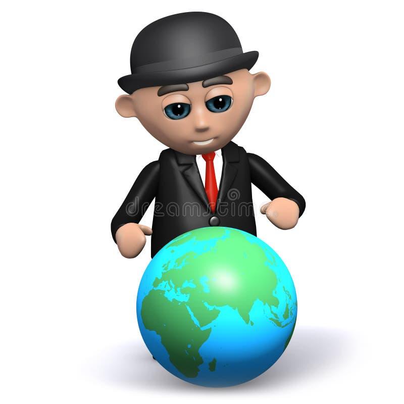 el hombre de negocios 3d estudia el globo stock de ilustración
