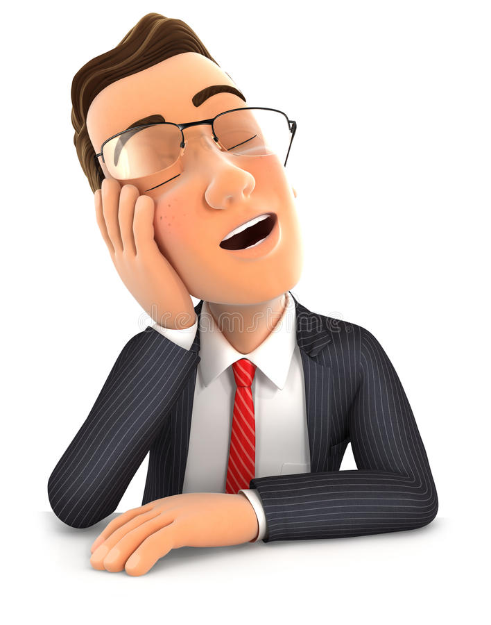 el hombre de negocios 3d se cayó el inclinarse dormido en su mano libre illustration